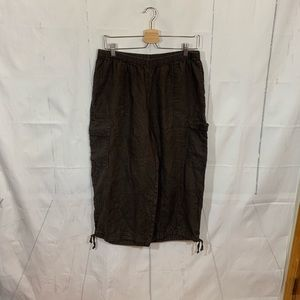 Flax 100% Linen Brown Cargo Capris Medium